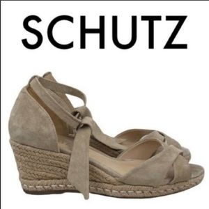 SCHUTZ Tan Suede Leather Platform Espadrilles 39